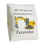 Christmas Excavator Burlap Throw Pillow