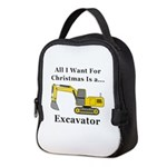 Christmas Excavator Neoprene Lunch Bag
