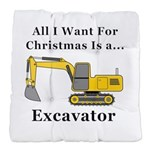 Christmas Excavator Tufted Chair Cushion