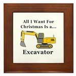 Christmas Excavator Framed Tile