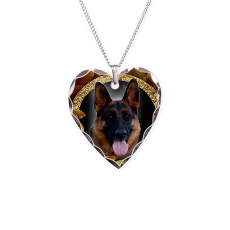 Awesome German Shepherd Necklace Heart Charm