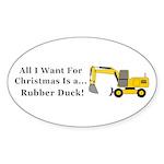 Christmas Rubber Duck Sticker (Oval 50 pk)