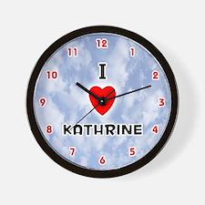 I Love Kathrine (Red/Blk) Valentine Wall Clock