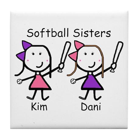 Softball - Sisters Tile Coaster