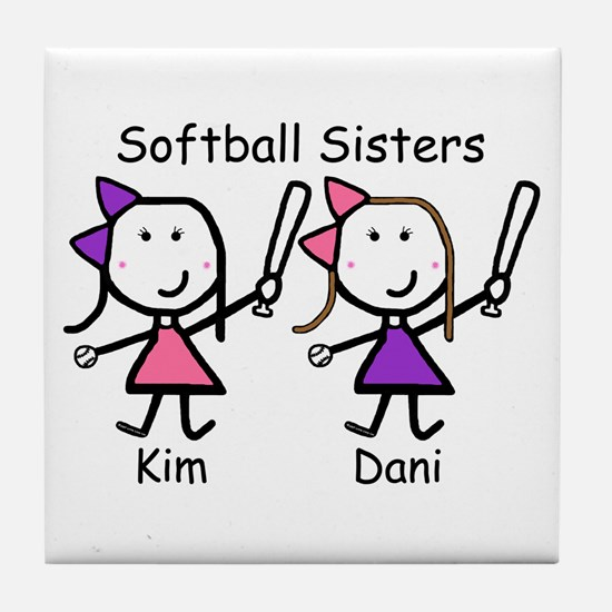 Softball - Sisters Tile Coaster