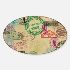 Vintage Passport Stamps Decal