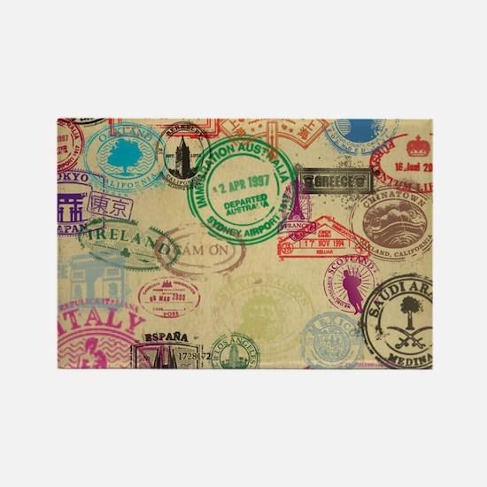Vintage Passport Stamps Magnets