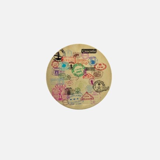 Vintage Passport Stamps Mini Button