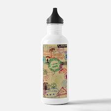 Vintage Passport Stamp Water Bottle
