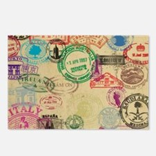 Vintage Passport Stamps Postcards (Package of 8)