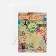 Vintage Passport Stamps Greeting Cards
