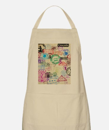 Vintage Passport Stamps Apron