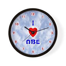 I Love Abe (Red/Bl) Valentine Wall Clock