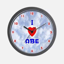 I Love Abe (Red/Bl) Valentine Wall Clock