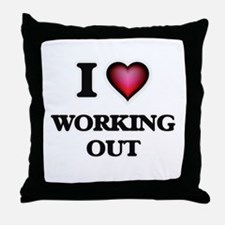 I love Working Out Throw Pillow