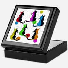 Unique Modern cat art Keepsake Box