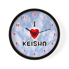 I Love Keisha (Red/Blk) Valentine Wall Clock
