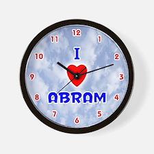 I Love Abram (Red/Bl) Valentine Wall Clock