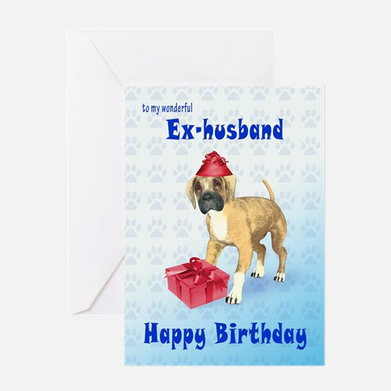 Birthday card for a ex-husband with a boxer puppy