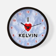 I Love Kelvin (Red/Blk) Valentine Wall Clock