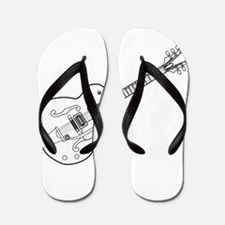 Country and Western Guitar Outline Flip Flops