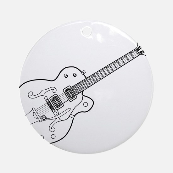 Country and Western Guitar Outline Round Ornament