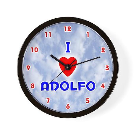 I Love Adolfo (Red/Bl) Valentine Wall Clock