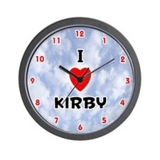 I Love Kirby (Red/Blk) Valentine Wall Clock