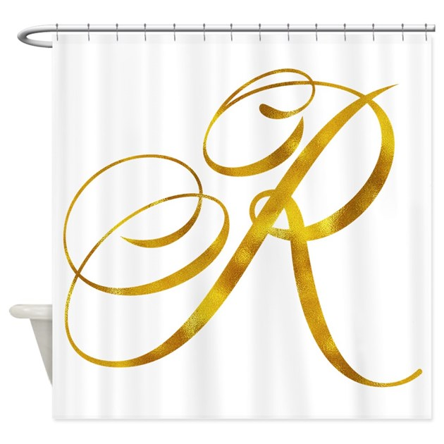 Monogram r gold faux foil monograms shower curtain by for Kitchen colors with white cabinets with monogram stickers for cups