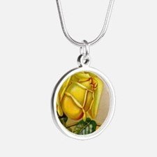 Funny Yellow rose Silver Round Necklace