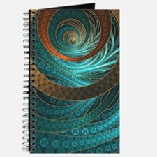 Beautiful Corded Leather Turquoise Fractal Journal