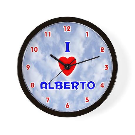 I Love Alberto (Red/Bl) Valentine Wall Clock