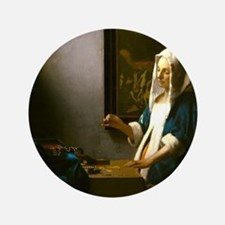 Woman Holding a Balance by Johannes Vermeer Button