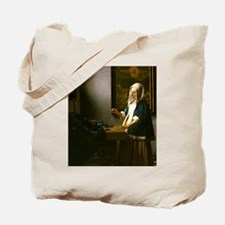Woman Holding a Balance by Johannes Vermeer Tote B