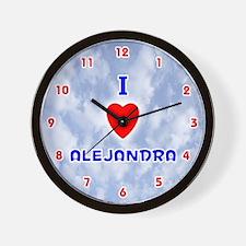 I Love Alejandra (Red/Bl) Valentine Wall Clock