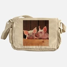Two Adorable Little Pigs Messenger Bag