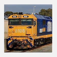 Train locomotive engine, blue & y Tile Coaster