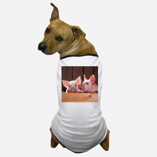 Two Adorable Little Pigs Dog T-Shirt