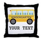 Kindergarten Personalized School Bus Throw Pillow