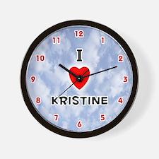 I Love Kristine (Red/Blk) Valentine Wall Clock