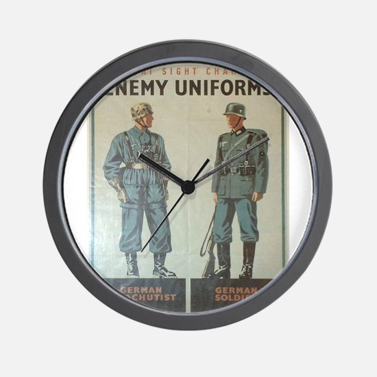 Vintage poster - Enemy Uniforms Wall Clock