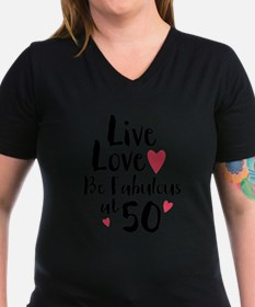 Live Love Fab 50 Women's V-Neck Dark T-Shirt