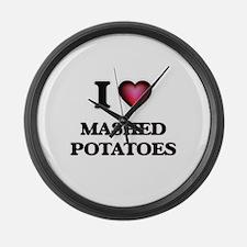 I love Mashed Potatoes Large Wall Clock