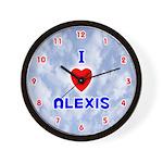 I Love Alexis (Red/Bl) Valentine Wall Clock