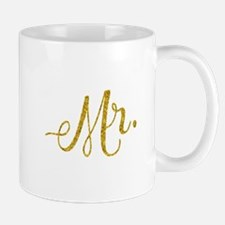 Mr. Wedding Engagement Gold Faux Foil Glitter Mugs