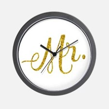 Mr. Wedding Engagement Gold Faux Foil G Wall Clock