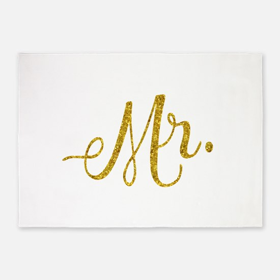 Mr. Wedding Engagement Gold Faux Fo 5'x7'Area Rug
