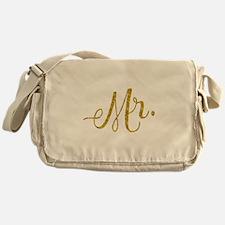 Mr. Wedding Engagement Gold Faux Foi Messenger Bag