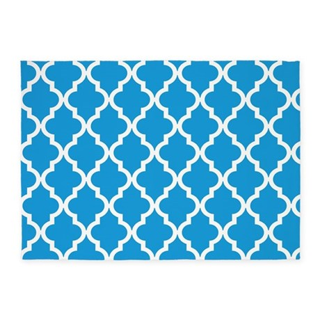 blue deep sky quatrefoil moroccan rug