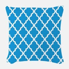 Blue, Deep Sky: Quatrefoil Mor Woven Throw Pillow
